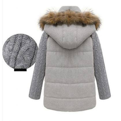 High Quality Light Grey Hooded Wool..