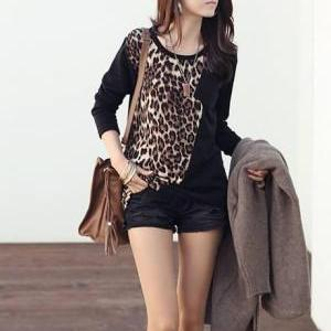 Sexy Leopard Paned Black Long Slee..