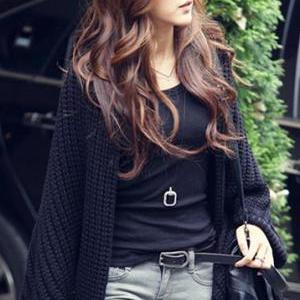 Good Quality Women Batwing-sleeve Cardigan Sweater - Black