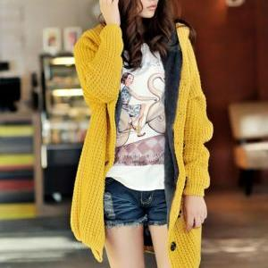 Hooded Collar Long Style Knitting W..