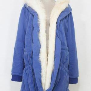 Warm Woman Fur Decoration Hooded Co..