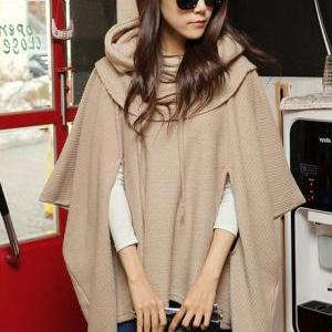 Fashion Loose Unicolor Hooded Shawl..