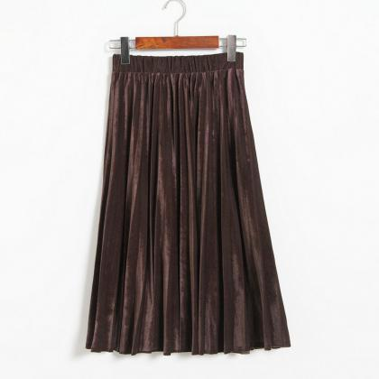 Women Midi High Waist Pleated Skirt..