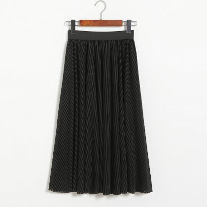 Women Stripe High Waist Pleated Ski..