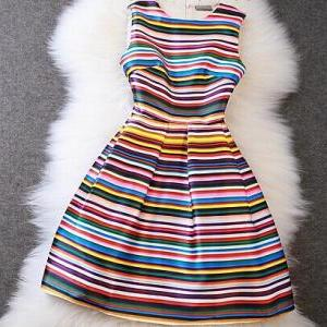 Luxury Designer Colorful Striped Dr..