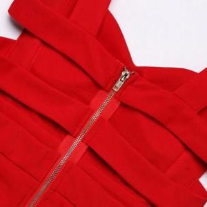 Red Sweetheart Shoulder Straps Shor..