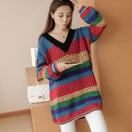 Loose V collar stripe knitted sweat..