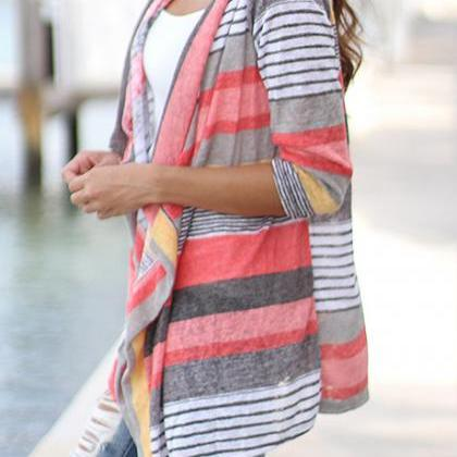 Fashion Three Quarter Sleeve Stripe..
