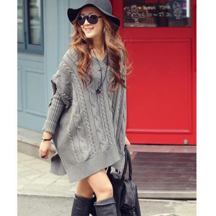 Casual Batwing Sleeve Loose Sweater..