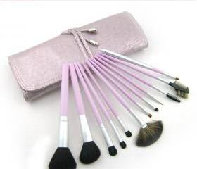High Quality Goat hair wool Purple 12Pcs Professional Beauty Makeup Brush Set with Bag