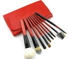 Top Grade ColorShine Goat Hair Wool 9pcs/set animal clip-on cosmetic Makeup brushes set - Red