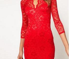 Sexy V Neck lace sleeve dress - Red