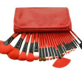 Fashion New 24 Pcs/Set Makeup Brushes Set In High Quality Crocodile Leather Case - Red