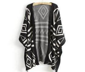 Stylish Geometrical Pattern Shawl for Woman - Black