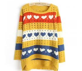 Cute Love style Hollow Loose Women Knitting Sweater - Yellow