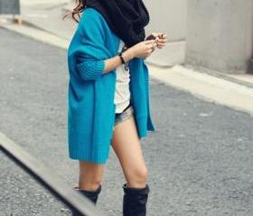 Hip Hop Loose Pattern Batwing Sleeve Cardigans - Blue