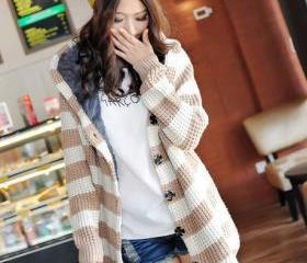 Fashion Matching Striped Long Pattern Cardigans with Hat - Khaki