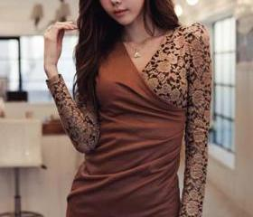 Charming Long Sleeve V Neck Wrap Dress Cotton and Lace - Coffee