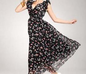 Cherry Print High Waist Long Chiffon Dress