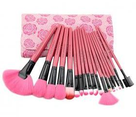 Hot Pink Floral 18PCS Professional Makeup Brush Set Make up Sets Tools with Leather Case