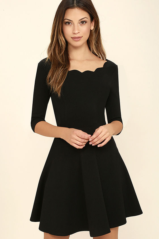 Black Scallop Bateau Neck Half Sleeves Short Skater Dress