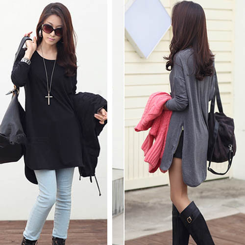 Stylish Loose Asymmetric Long Sleeve Shirt T-Shirt For Women on Luulla