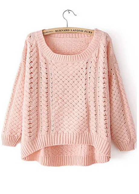 Sweater High Neck High Low Hem Sweater