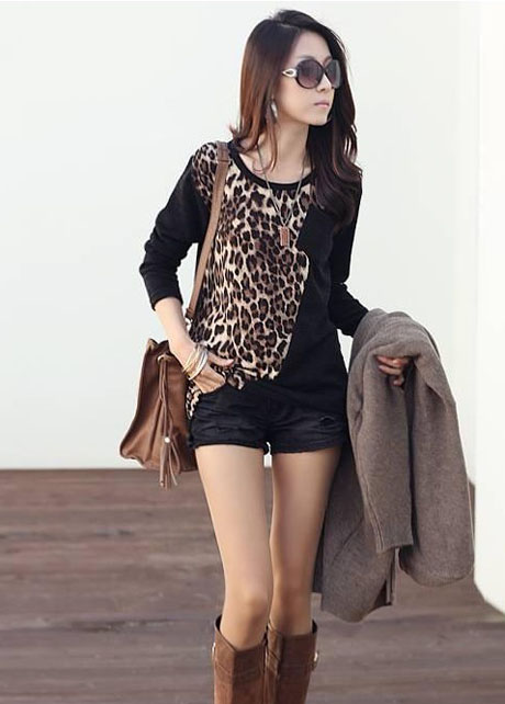 Sexy Leopard Paned Black Long Sleeve Tees for Women