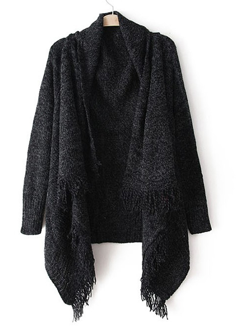 ... Woman Baggy Sweater Cardigans with Tassel Decoration - Black ... - Woman Baggy Sweater Cardigans With Tassel Decoration - Navy Blue