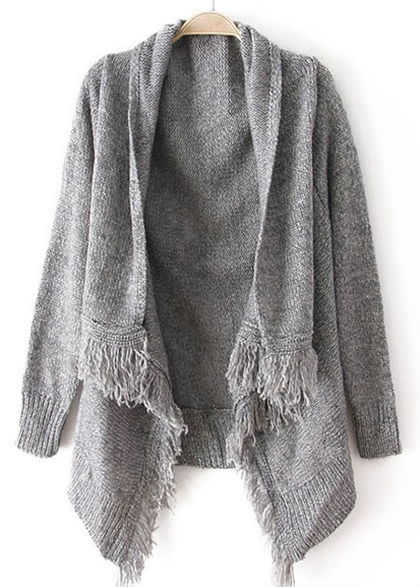 Woman Baggy Sweater Cardigans with Tassel Decoration - Grey - Woman Baggy Sweater Cardigans With Tassel Decoration - Grey On Luulla