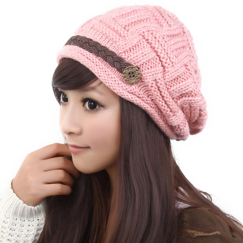 fashion slouchy knitted hat cap for women pink free shipping fashion ...