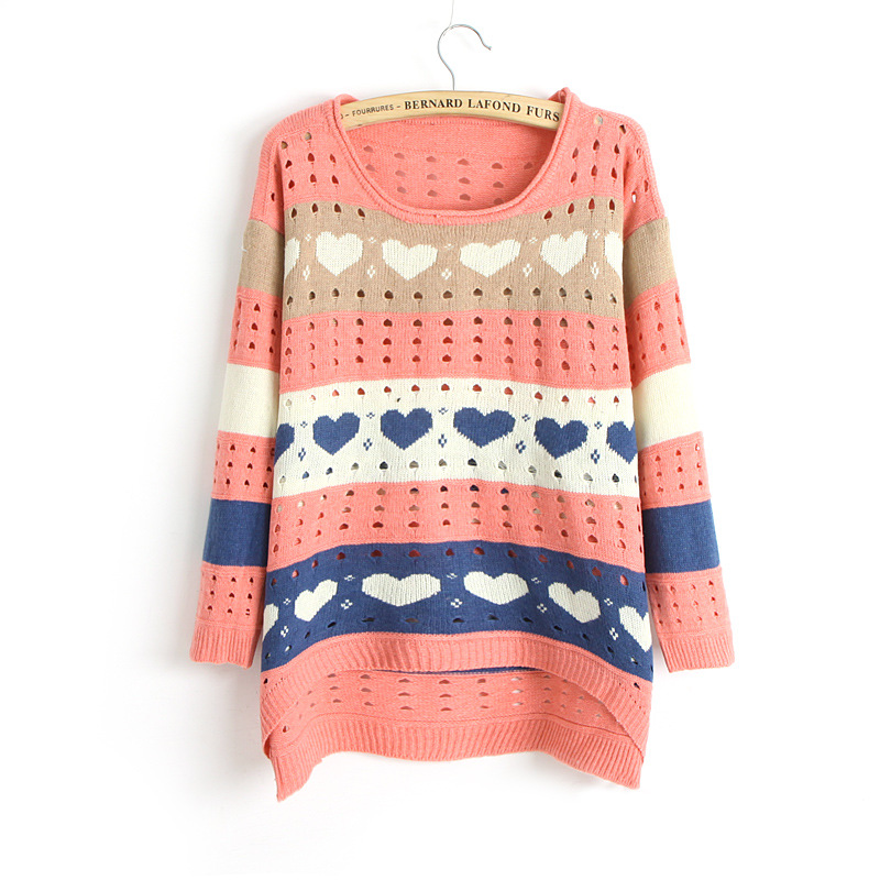 Cute Love Style Hollow Loose Women Knitting Sweater - Pink on Luulla