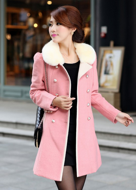 Fashion Cashmere Long Coat For Woman - Pink on Luulla