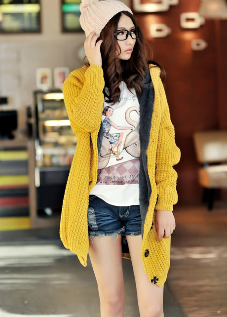 Hooded Collar Long Style Knitting Wool Sweater Coat - Yellow