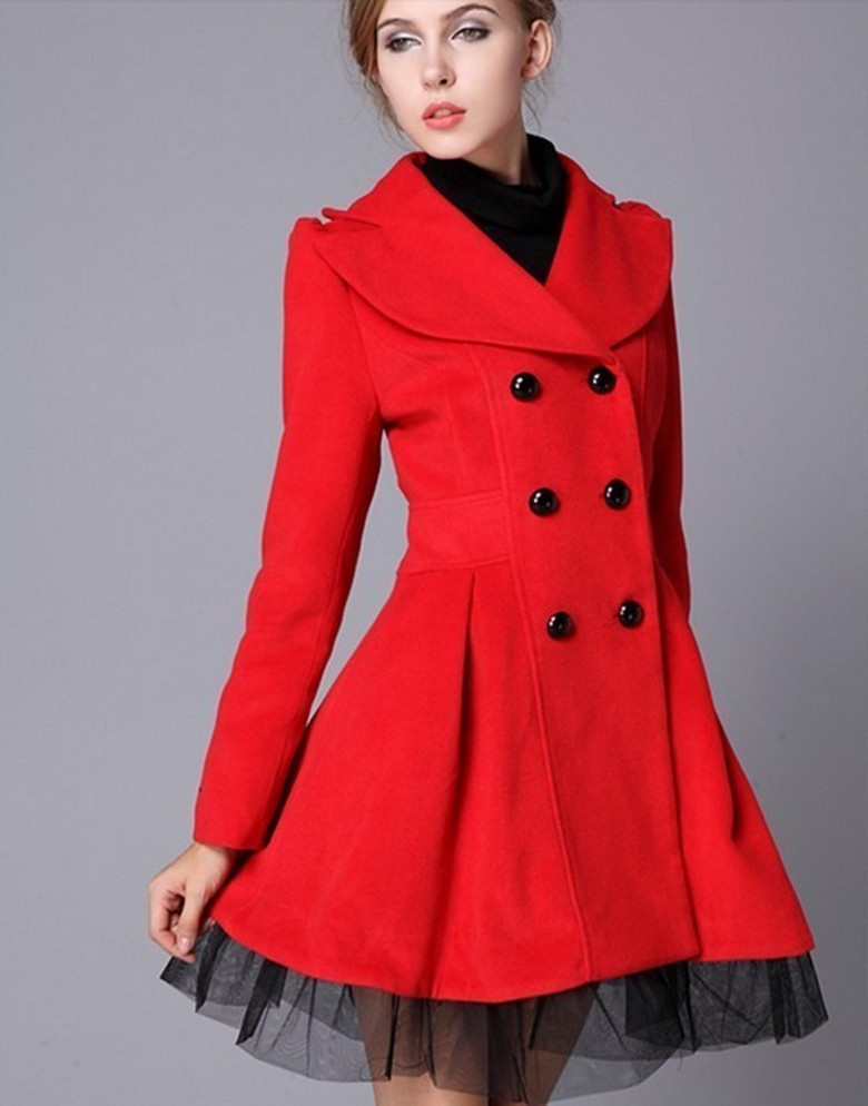 High Quality Fashion Wool Long Winter Dress Coat For Women - Red