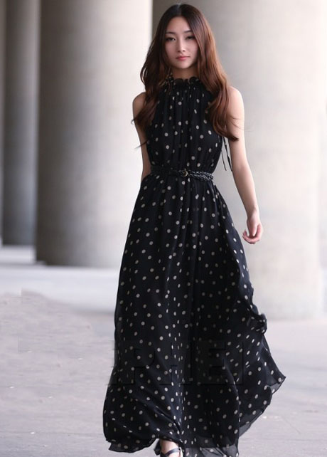 Lovely Polka Dot Print Black