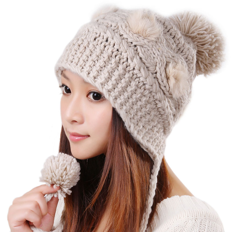 Free Shipping Cute Various Little Ball Knitted Bomber Hat For Girls - Beige