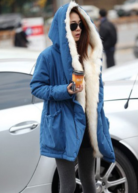 Warm Woman Fur Decoration Hooded Collar Coat - Blue