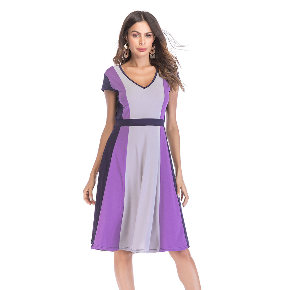 New Style Short Sleeve Patchwork Dress