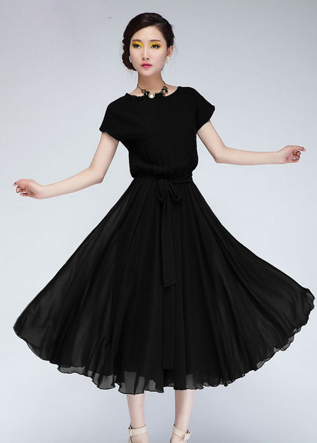Chic Cap Sleeve Empire Waist Chiffon Pleated Dress - Black on Luulla