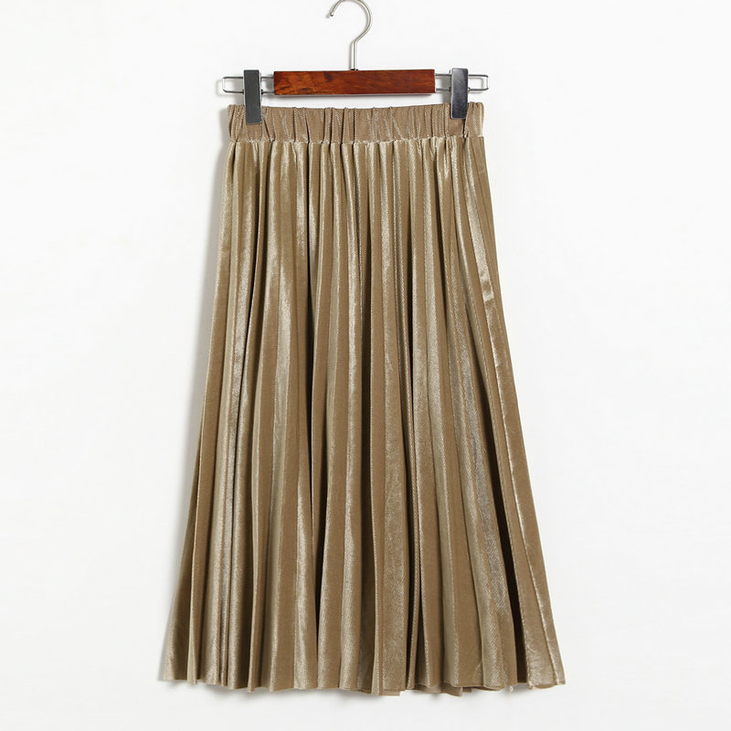 Women Midi High Waist Pleated Skirt 4 Colors