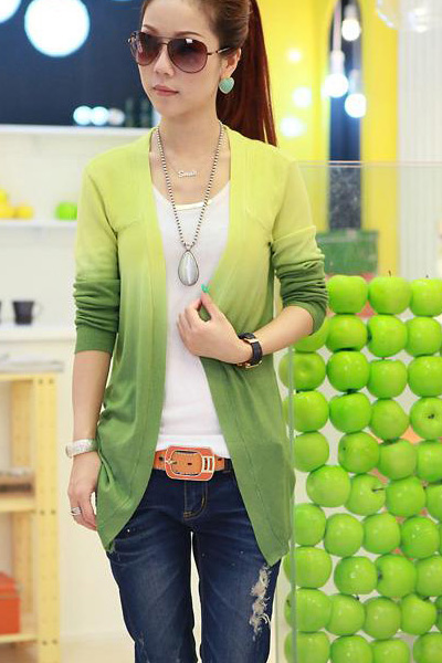 Fashion Long Sleeve s Grandualy Changing Colors Red Knitting Cardigan - Green