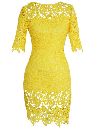 Sexy And Pretty Short Sleeve Solid Dress for Woman - Yellow