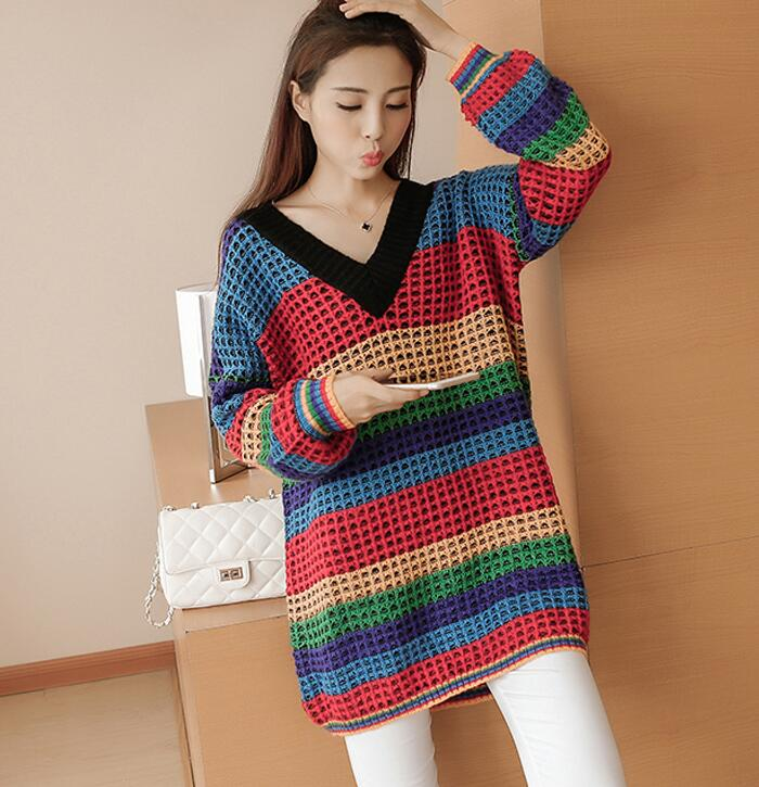 Loose V collar stripe knitted sweater