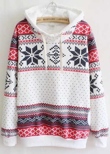 Charming Hooded Collar Long Sleeve Printed Pullover Sweatshirt