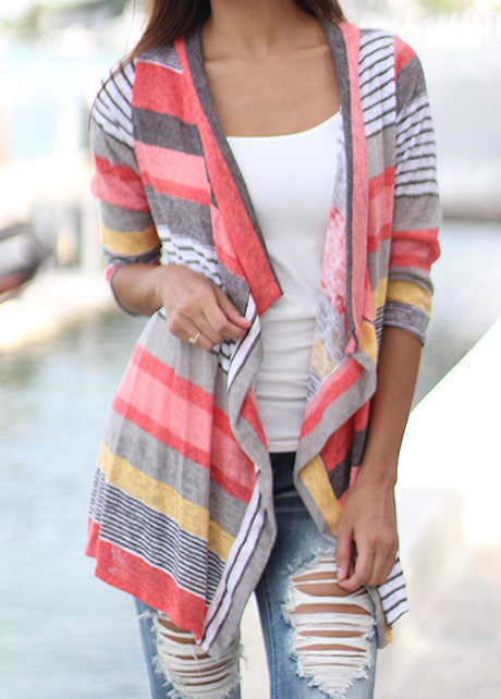 Fashion Three Quarter Sleeve Stripe Print Cardigan - Red