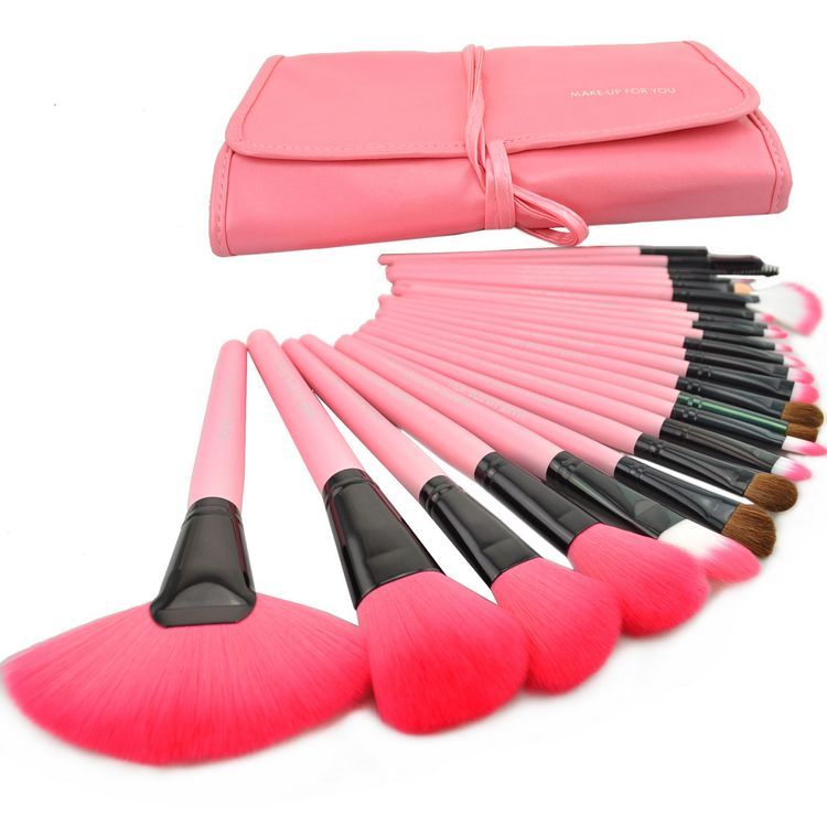 Brand New 24 Pcs/Set Makeup Brush Cosmetic Set Kit Packed In High Quality Leather Case - Pink