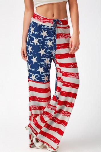 Free Shipping Fashion Flag Print Drawstring Waist Loose Pants