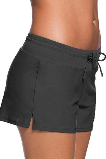 Free Shipping Good Quality Drawstring Waist Swimwear Shorts - Grey