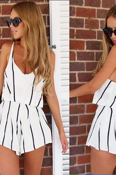 New Stripe V Neck Romper Women's Fashion - White